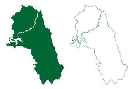 Dhamtari district (Chhattisgarh State, division, Republic of India) map vector illustration, scribble sketch Dhamtari map Ilustração