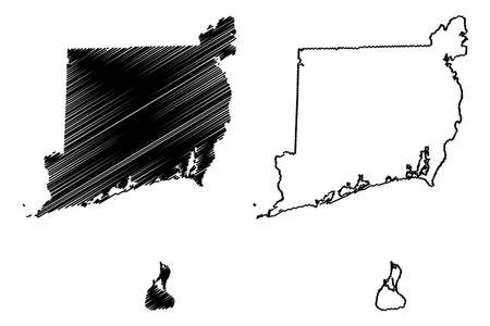 Washington County, State of Rhode Island and Providence Plantations (US county, United States of America, USA, US, US) map vector illustration, scribble sketch South County map Ilustração