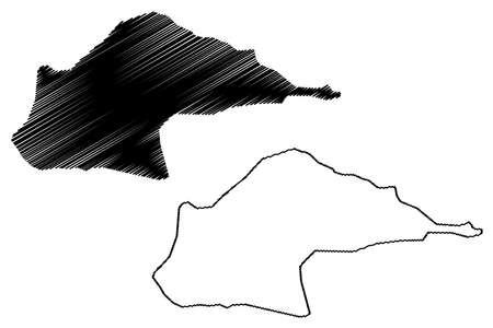 Me-Zochi District (Democratic Republic of Sao Tome and Principe, Saint Thomas and Prince) map vector illustration, scribble sketch Me Zochi map Ilustração