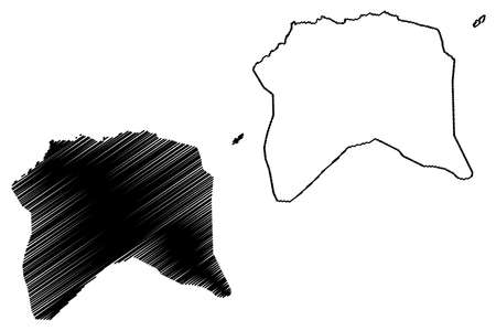 Lobata District (Democratic Republic of Sao Tome and Principe, Saint Thomas and Prince) map vector illustration, scribble sketch Lobata map Ilustração