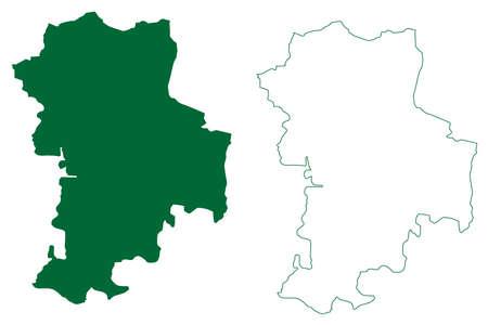 Kondagaon district (Chhattisgarh State, Bastar division, Republic of India) map vector illustration, scribble sketch Kondagaon map