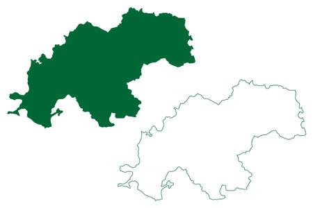 Kanker district (Chhattisgarh State, Bastar division, Republic of India) map vector illustration, scribble sketch Kanker map