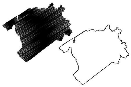 Darlington County, State of South Carolina (US county, United States of America, USA, US, US) map vector illustration, scribble sketch Darlington map Ilustração