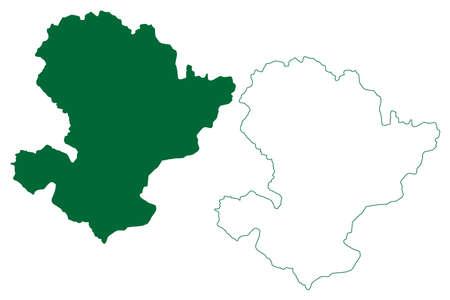 Jashpur district (Chhattisgarh State, Surguja division, Republic of India) map vector illustration, scribble sketch Jashpur map