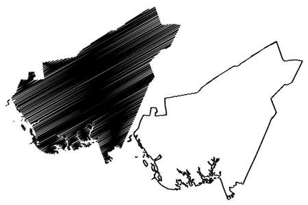 Clarendon County, State of South Carolina (US county, United States of America, USA, US, US) map vector illustration, scribble sketch Clarendon map Ilustração