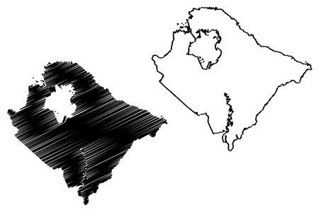 Berkeley County, State of South Carolina (US county, United States of America, USA, US, US) map vector illustration, scribble sketch Berkeley map Ilustração