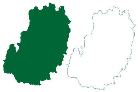 Kabirdham district (Chhattisgarh State, Durg division, Republic of India) map vector illustration, scribble sketch Kabirdham map