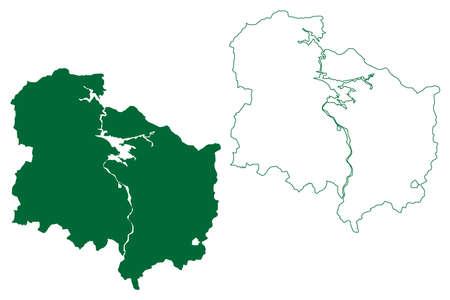 Korba district (Chhattisgarh State, bilaspur division, Republic of India) map vector illustration, scribble sketch Korba map