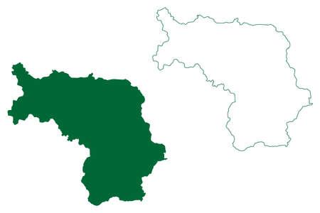 Koriya district (Chhattisgarh State, division, Republic of India) map vector illustration, scribble sketch Korea map