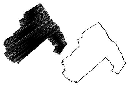 Hampton County, State of South Carolina (US county, United States of America, USA, US, US) map vector illustration, scribble sketch Hampton map Ilustração