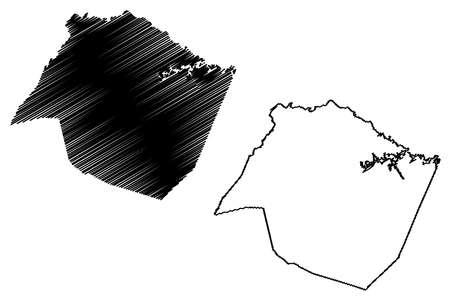Saluda County, State of South Carolina (US county, United States of America, USA, US, US) map vector illustration, scribble sketch Saluda map Ilustração