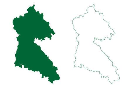 Mungeli district (Chhattisgarh State, Bilaspur division, Republic of India) map vector illustration, scribble sketch Mungeli map