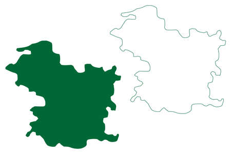 Narayanpur district (Chhattisgarh State, Bastar division, Republic of India) map vector illustration, scribble sketch Narayanpur map Ilustração