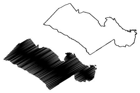 Orangeburg County, State of South Carolina (US county, United States of America, USA, US, US) map vector illustration, scribble sketch Orangeburg map Ilustração