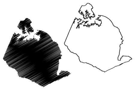 Lexington County, State of South Carolina (US county, United States of America, USA, US, US) map vector illustration, scribble sketch Lexington map Ilustração