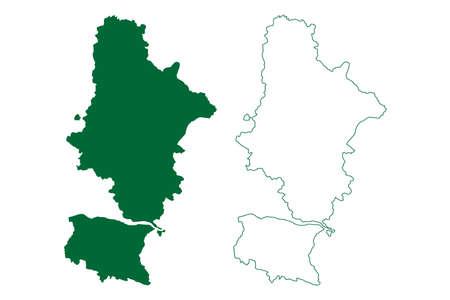 Raigarh district (Chhattisgarh State, division, Republic of India) map vector illustration, scribble sketch Raigarh map