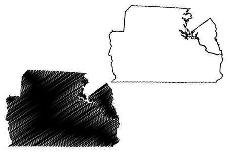 York County, State of South Carolina (US county, United States of America, USA, US, US) map vector illustration, scribble sketch York map Ilustração