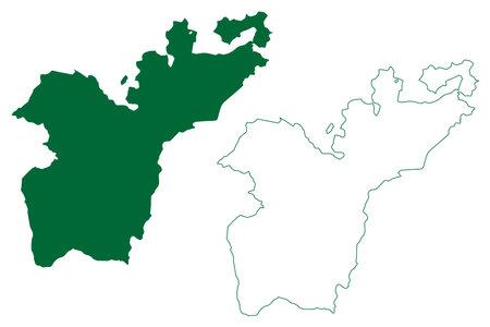 Sukma district (Chhattisgarh State, Bastar division, Republic of India) map vector illustration, scribble sketch Sukma map