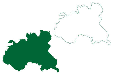 Surguja district (Chhattisgarh State, division, Republic of India) map vector illustration, scribble sketch Surguja map