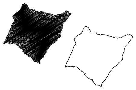Williamsburg County, State of South Carolina (US county, United States of America, USA, US, US) map vector illustration, scribble sketch Williamsburg map Ilustração