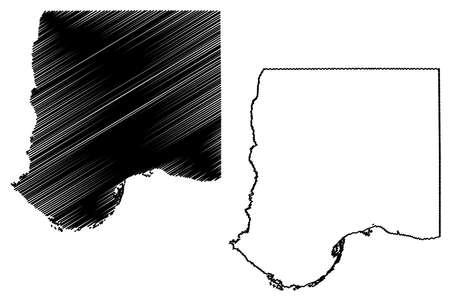 Bon Homme County, State of South Dakota (US county, United States of America, USA, US, US) map vector illustration, scribble sketch Bon Homme map Ilustração