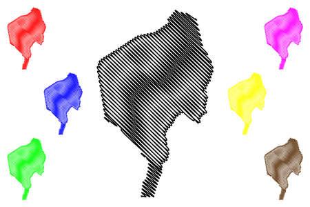 Blue Nile state (Republic of the Sudan, North Sudan) map vector illustration, scribble sketch Blue Nile map