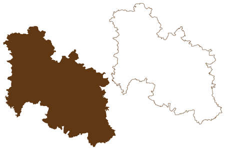Donau-Ries district (Federal Republic of Germany, rural district Swabia, Free State of Bavaria) map vector illustration, scribble sketch Donau Ries map
