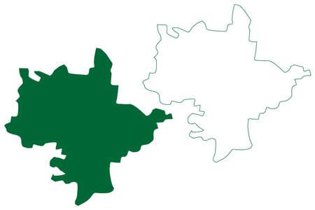 Rewari district (Haryana State, Republic of India) map vector illustration, scribble sketch Rewari map