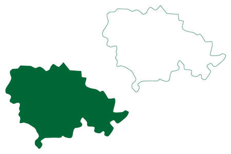 Rohtak district (Haryana State, Republic of India) map vector illustration, scribble sketch Rohtak map