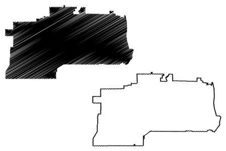 West Jordan City, Utah (United States cities, United States of America, usa city) map vector illustration, scribble sketch City of West Jordan map Иллюстрация