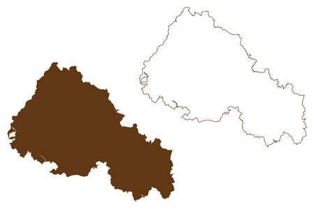 Rhon-Grabfeld district (Federal Republic of Germany, rural district Lower Franconia, Free State of Bavaria) map vector illustration, scribble sketch Rhon Grabfeld map