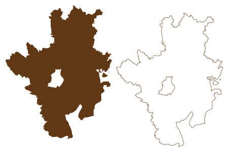 Rosenheim district (Federal Republic of Germany, rural district Upper Bavaria, Free State of Bavaria) map vector illustration, scribble sketch Rosenheim map Иллюстрация