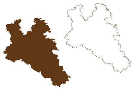 Roth district (Federal Republic of Germany, rural district Middle Franconia, Free State of Bavaria) map vector illustration, scribble sketch Roth map