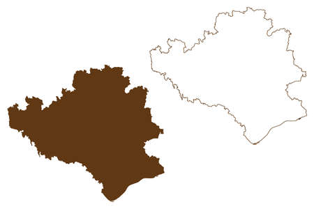 Rottal-Inn district (Federal Republic of Germany, rural district Lower Bavaria, Free State of Bavaria) map vector illustration, scribble sketch Rottal Inn map