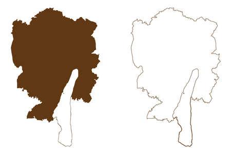 Starnberg district (Federal Republic of Germany, rural district Upper Bavaria, Free State of Bavaria) map vector illustration, scribble sketch Starnberg map Иллюстрация
