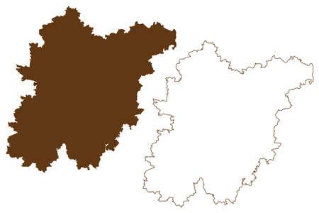 Schwandorf district (Federal Republic of Germany, rural district Upper Palatinate, Free State of Bavaria) map vector illustration, scribble sketch Schwandorf map Иллюстрация