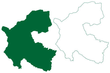 Chamba district (Himachal Pradesh State, Republic of India) map vector illustration, scribble sketch Chamba map