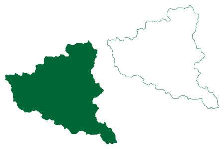Kinnaur district (Himachal Pradesh State, Republic of India) map vector illustration, scribble sketch Kinnaur map