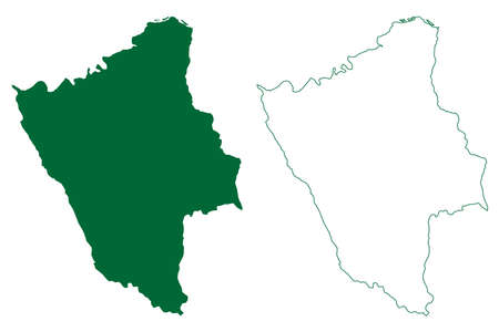 Hamirpur district (Himachal Pradesh State, Republic of India) map vector illustration, scribble sketch Hamirpur map