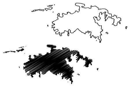 Saint John District, United States Virgin Islands (US county, United States of America, USA, US, US) map vector illustration, scribble sketch St. John Island map