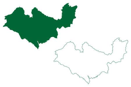 Kangra district (Himachal Pradesh State, Republic of India) map vector illustration, scribble sketch Kangra map