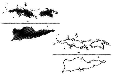 Virgin Islands of the United States of America (United States of America, USA, US) map vector illustration, scribble sketch United States Virgin Islands (Saint Thomas, Saint John, Saint Croix) map