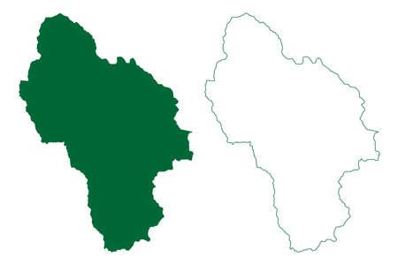 Kullu district (Himachal Pradesh State, Republic of India) map vector illustration, scribble sketch Kullu map Иллюстрация