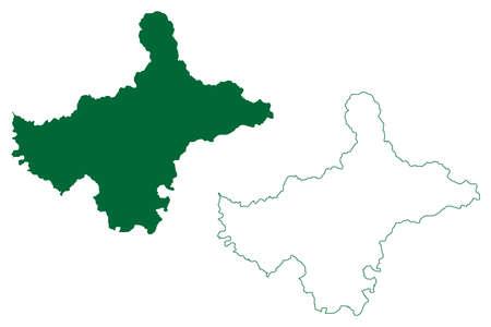 Shimla district (Himachal Pradesh State, Republic of India) map vector illustration, scribble sketch Shimla map