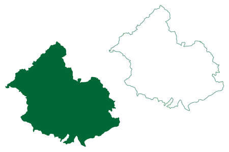 Sirmaur district (Himachal Pradesh State, Republic of India) map vector illustration, scribble sketch Sirmaur map