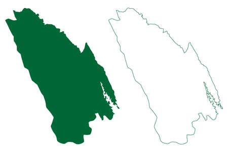 Una district (Himachal Pradesh State, Republic of India) map vector illustration, scribble sketch Una map Иллюстрация