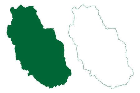Mandi district (Himachal Pradesh State, Republic of India) map vector illustration, scribble sketch Mandi map