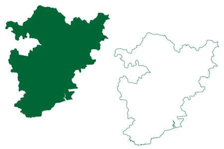 Alirajpur district (Madhya Pradesh State, Indore division, Republic of India) map vector illustration, scribble sketch Alirajpur map