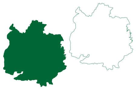 Ashoknagar district (Madhya Pradesh State, Gwalior division, Republic of India) map vector illustration, scribble sketch Ashoknagar map