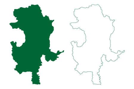 Guna district (Madhya Pradesh State, Gwalior division, Republic of India) map vector illustration, scribble sketch Guna map